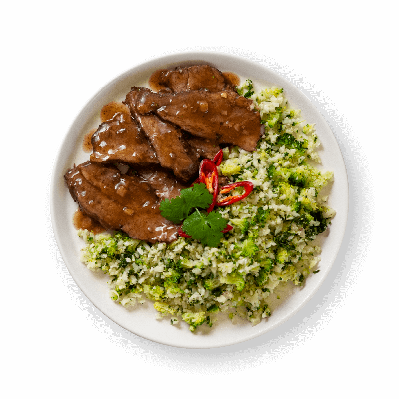 Chinese Five Spice Beef with Broccoli & Cauliflower Rice