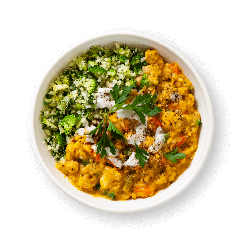 Coconut Vegetable Dahl with Broccoli & Cauliflower Rice