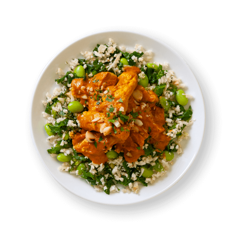Macadamia Chicken Curry with Cauliflower and Kale Rice