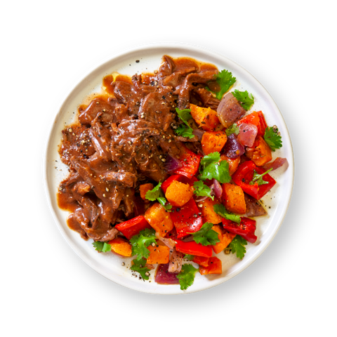 Pulled Beef with Roasted Carrot & Capsicum Salsa
