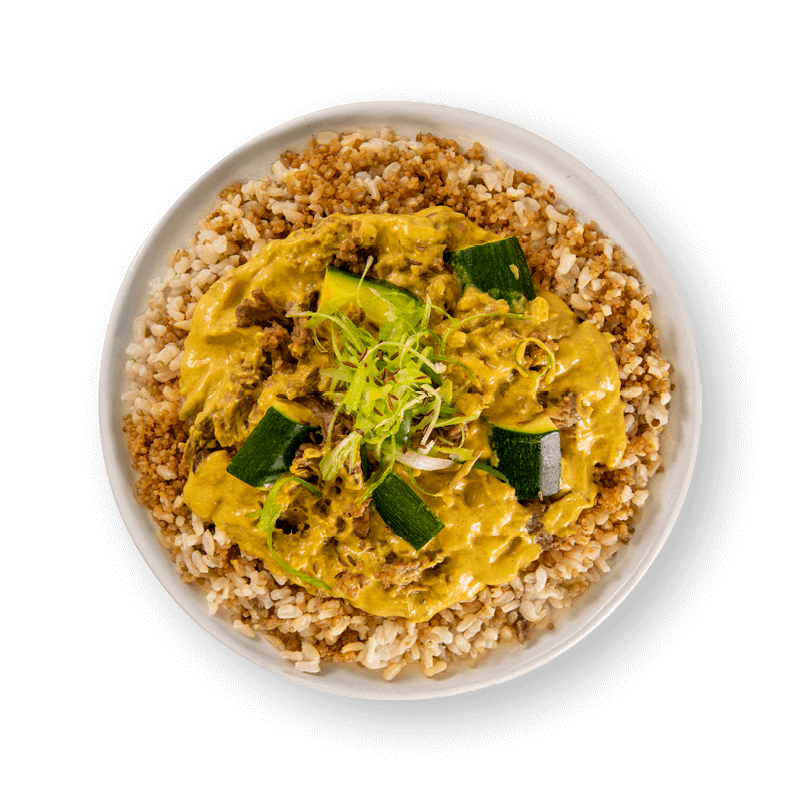 Plant Based Rendang Curry with Zucchini Brown Rice and Quinoa