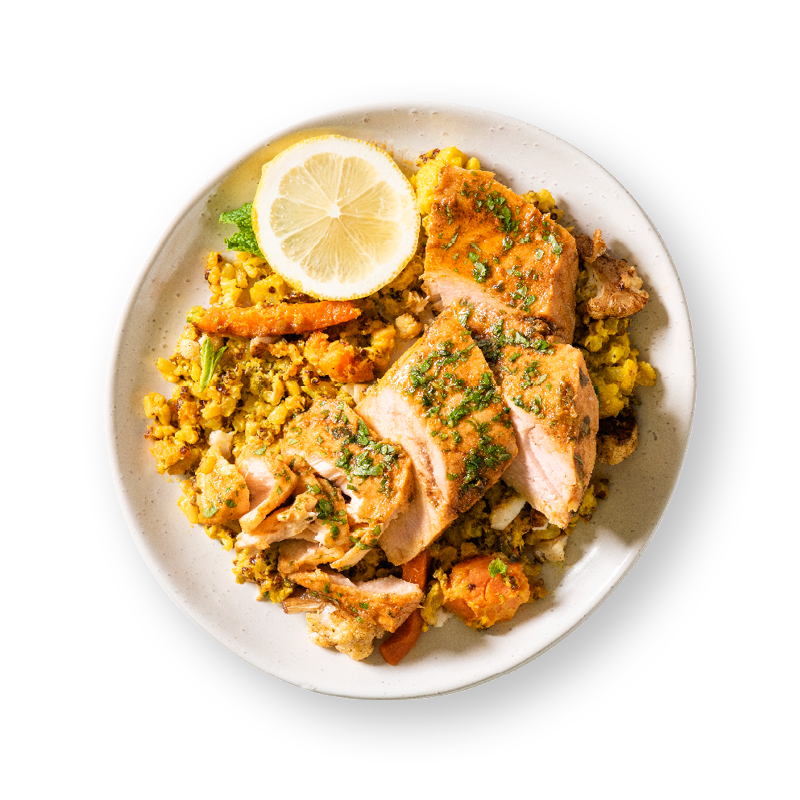 Grilled Salmon with Turmeric Cauliflower Rice & Quinoa