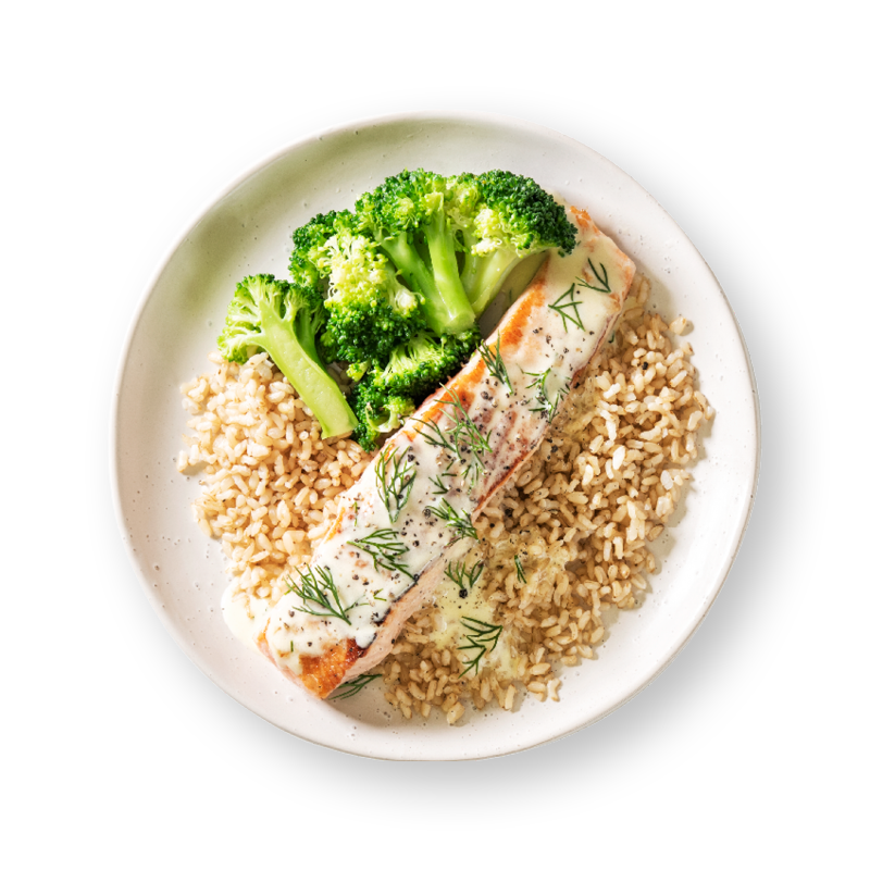 Roasted Salmon with Brown Rice and Dill