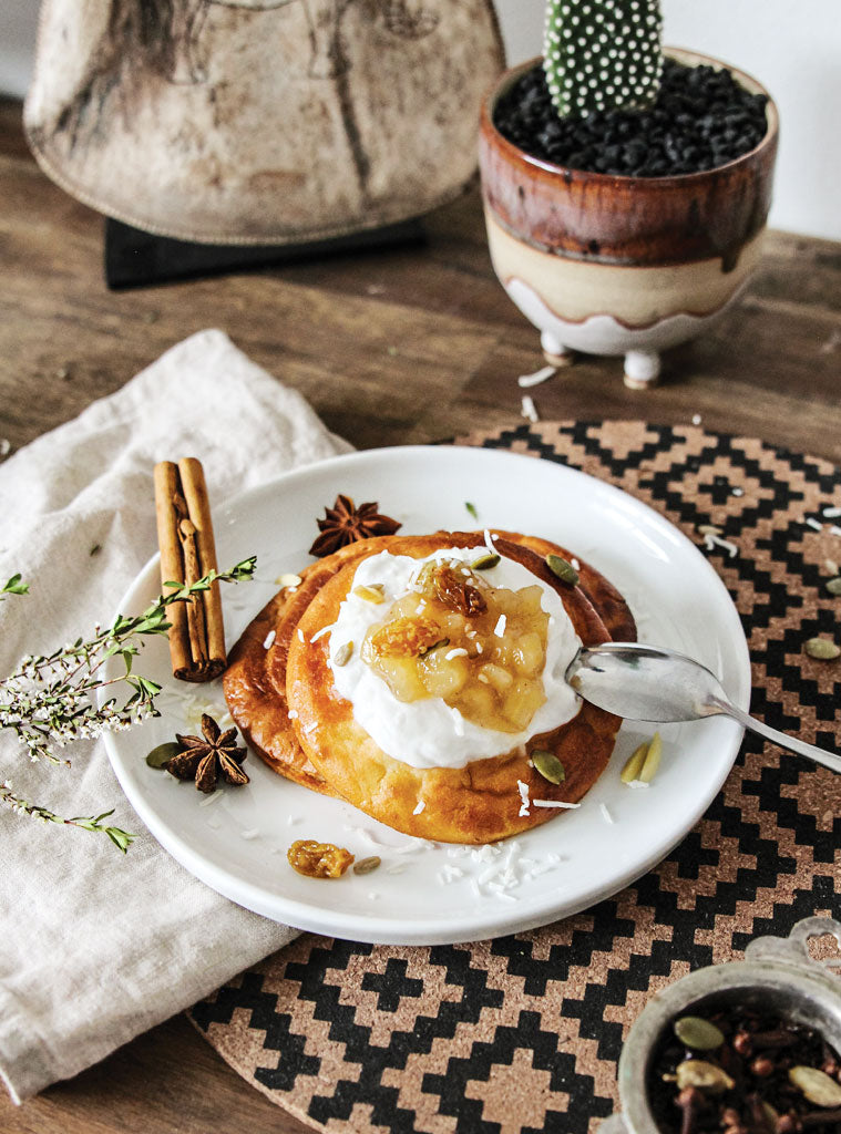 Power Pancakes with Spiced Apple Compote and Coconut Yoghurt