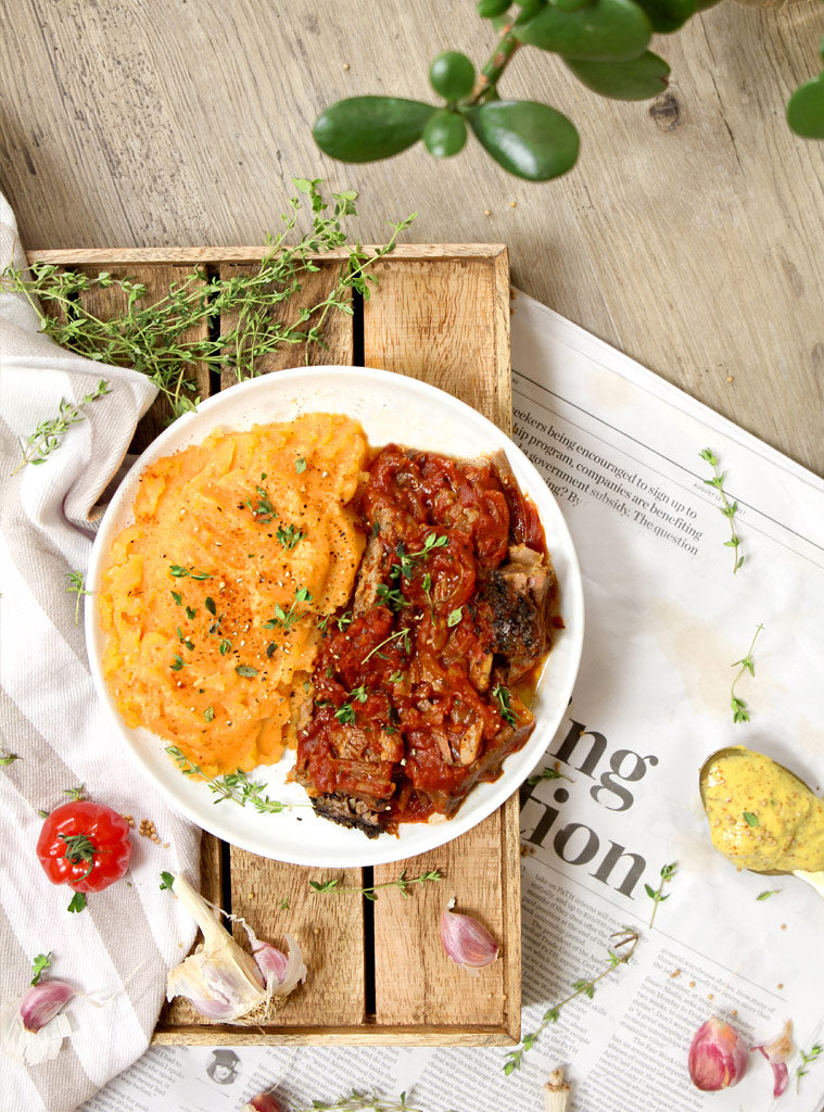 Slow Cooked Brisket with Sweet Potato Mash