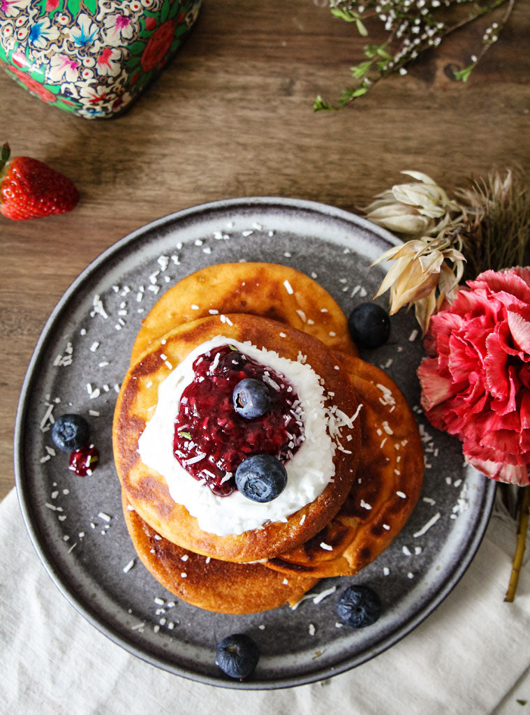 Power Pancakes with Mixed Berry Compote and Coconut Yoghurt