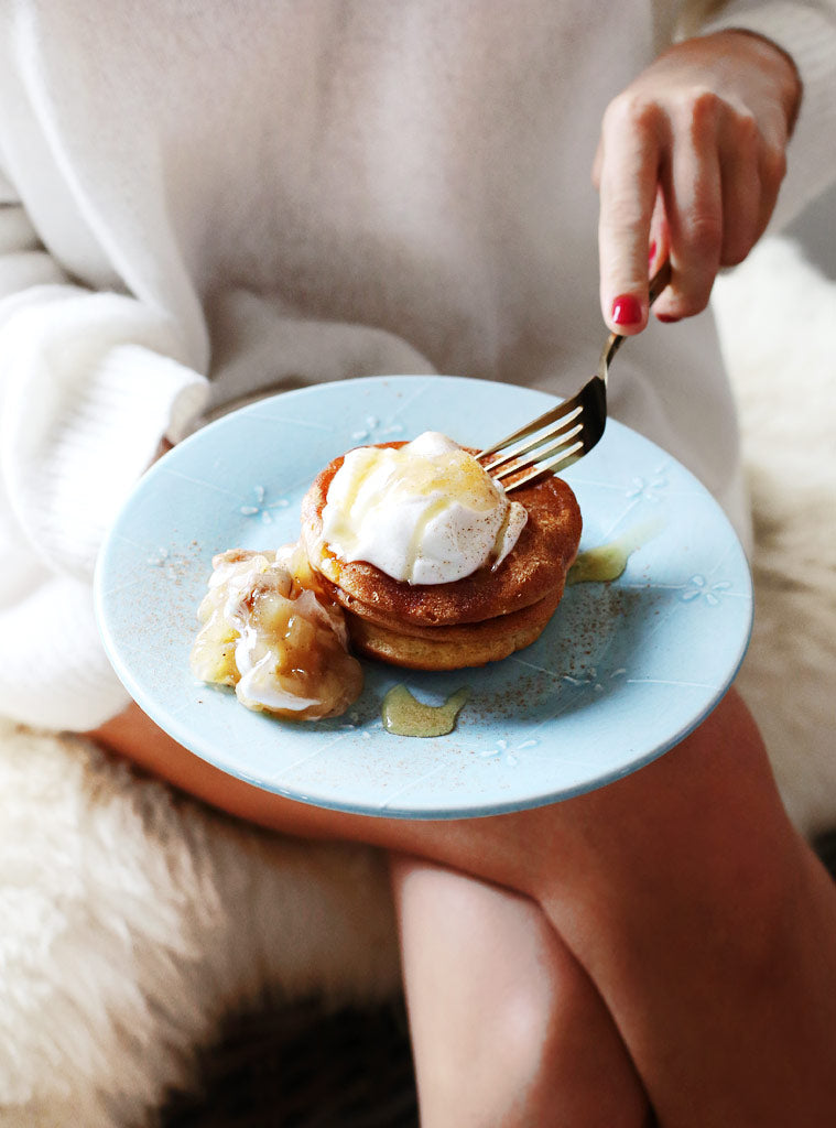 Power Pancakes with Pineapple & Lime Compote and Coconut Yoghurt