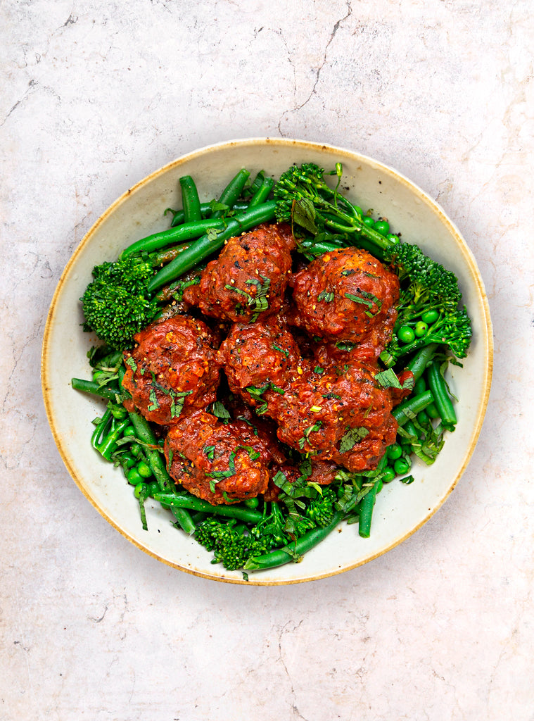 Middle Eastern Chicken Rissoles w. Seasonal Greens