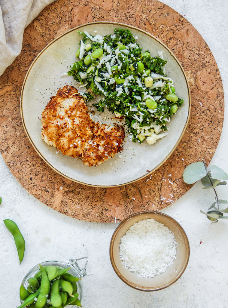 Coconut Chicken Schnitzel with Cauliflower, Kale & Zucchini Rice
