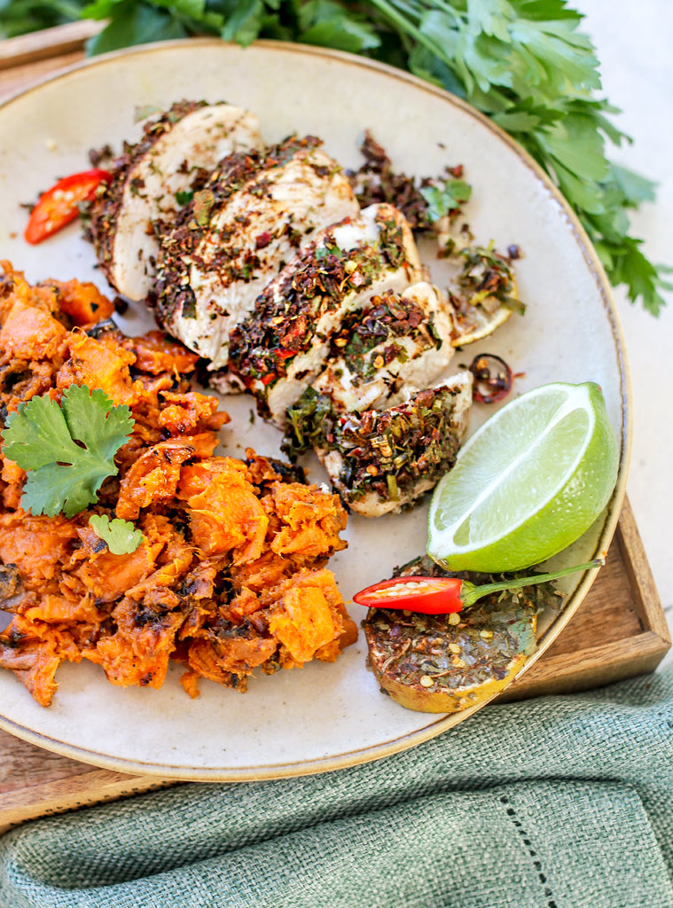 Jerk Chicken with Sweet Potato Mash