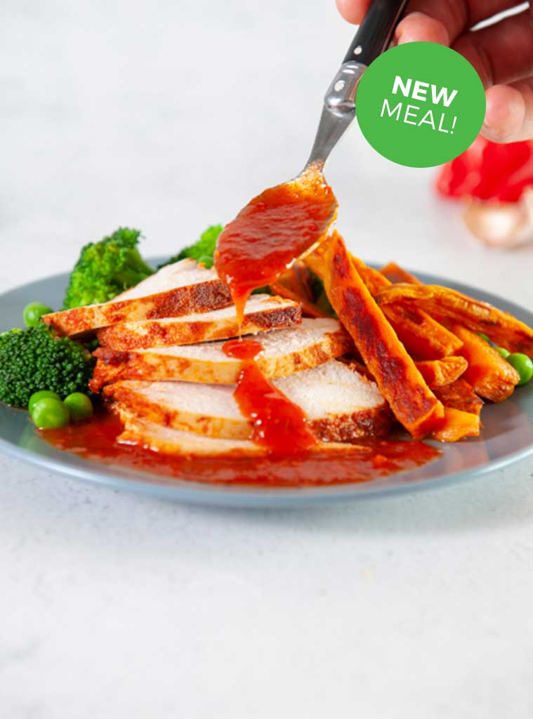 Portuguese Chicken with Sweet Potato Fries & Green Veg