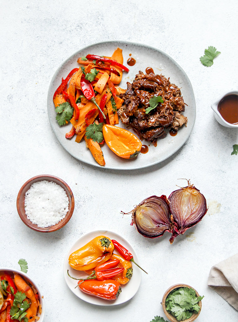 Pulled Beef with Roast Carrot Salad