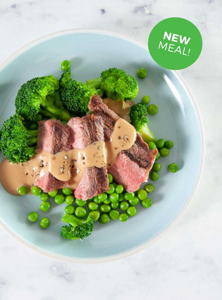 Steak with Peppercorn Sauce and Mixed Veg