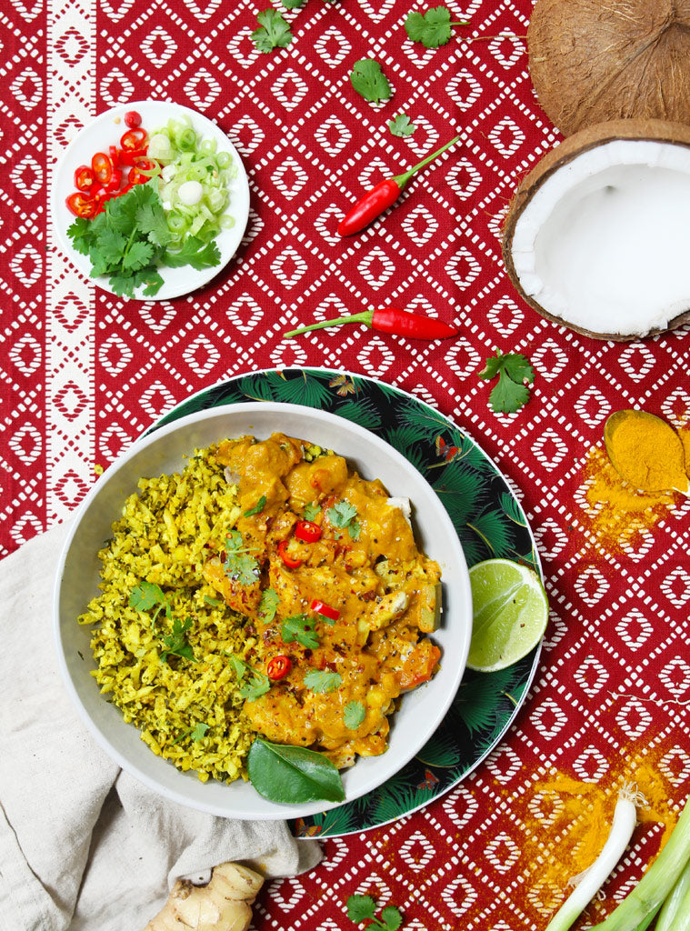 Yellow Chicken Curry with Spiced Cauliflower Rice