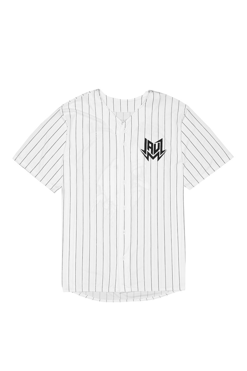 Shark Head Pinstripe Baseball Jersey JERSEY JAUZ OFFICIAL S White