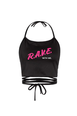 R.A.V.E. With Me Girl's Halter Top WOMEN JAUZ OFFICIAL OS