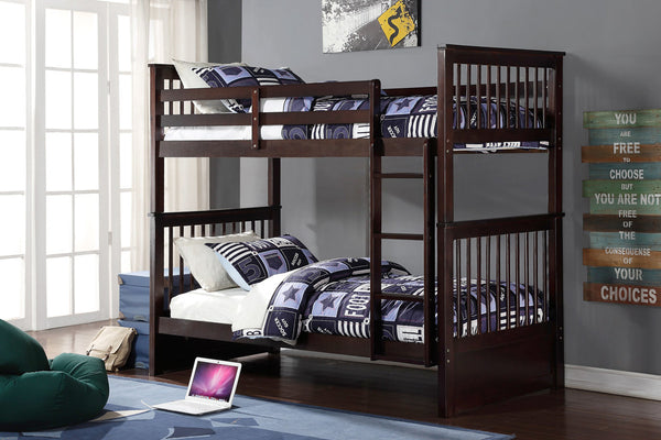 Cherry, Espresso or Honey Single/Single Mission Bunk Bed