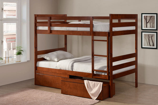 Espresso or Oak Single/Single Bunk Bed