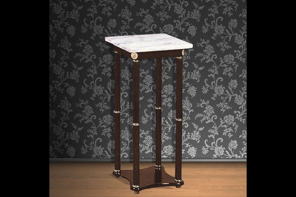 Espresso Side Table with White Marble Top