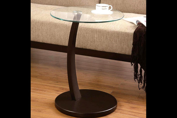 Espresso & Glass Side Table