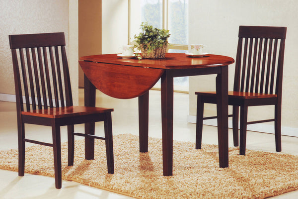 3 Piece Oak Top Dining Set with Espresso Legs