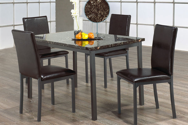 5 or 7 Piece Marble Top Dining Set with Upholstered Seats