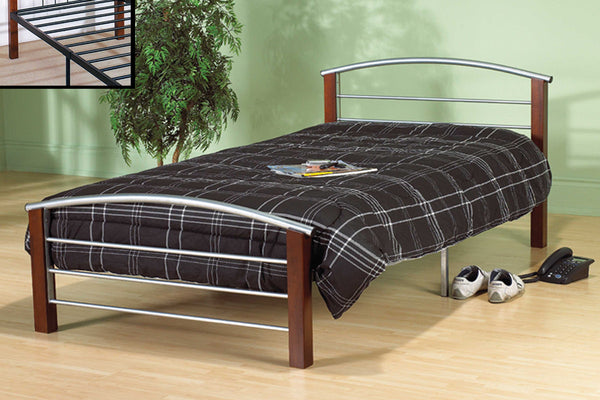 Silver Metal & Dark Cherry Bed Frame