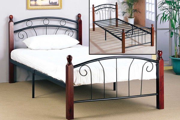 Black Metal & Dark Cherry Bed Frame