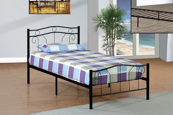 Black or White Metal Swirl Design Bed Frame