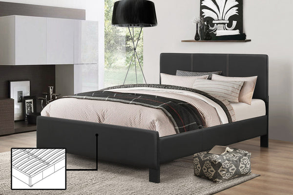 Espresso or Black Bed Frame with Contrast Stitching