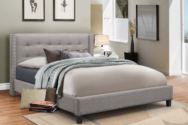 Grey Fabric Bed Frame with Nailhead Detail