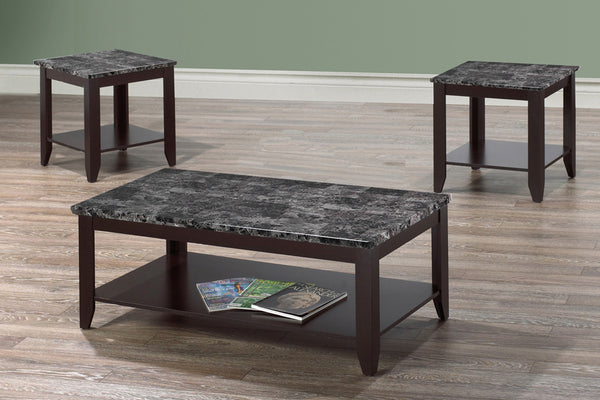 3 Piece Grey Marble Coffee Table Set
