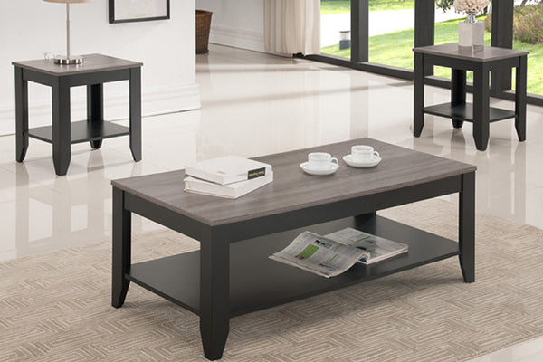 3 Piece 3D Espresso Oak Coffee Table Set