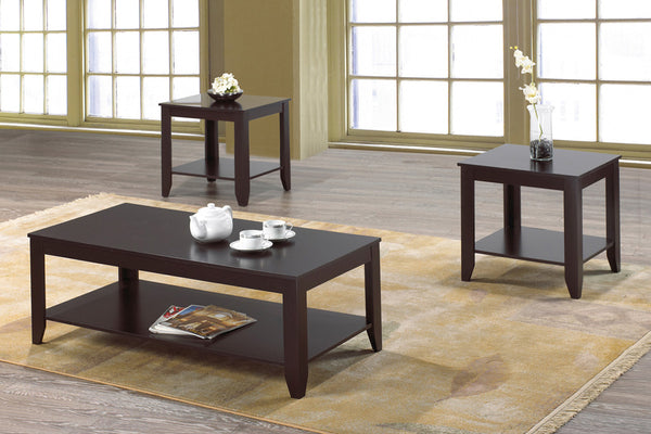 3 Piece All Espresso Coffee Table Set