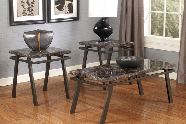 3 Piece Marble Top Coffee Table Set with Gun Metal Frame