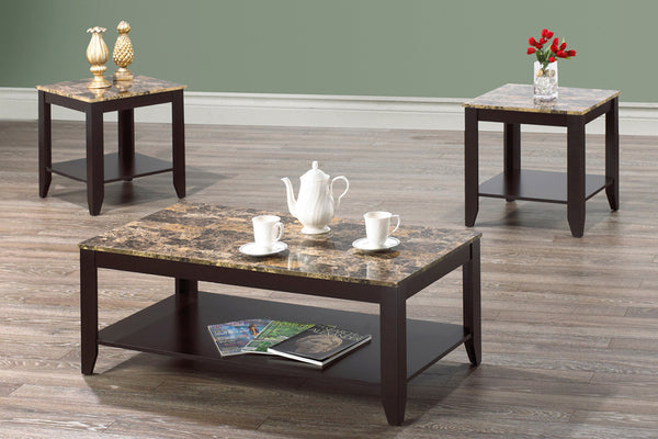 3 Piece Brown Marble Top Coffee Table Set with Espresso Frame