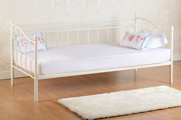 Black or White Metal Trundle Day Bed Frame
