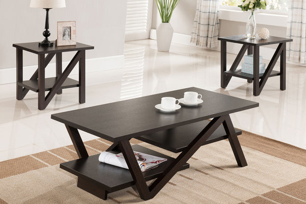 3 Piece Z Leg Espresso Coffee Table Set