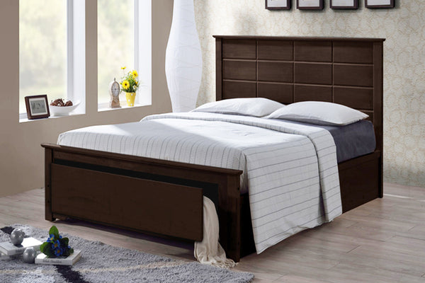 Espresso Bed Frame with Functional Storage Drawer