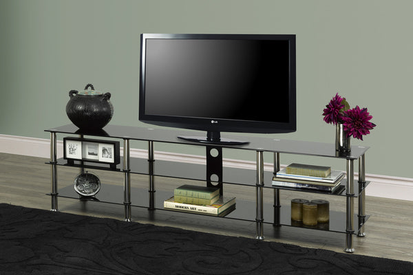 "Black and Chrome 3 Shelf TV Stand - Holds up to 80"" TV"