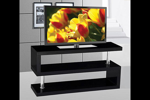 "Glossy Black 3 Shelf (S Style) TV Stand - Holds up to 55"" TV"