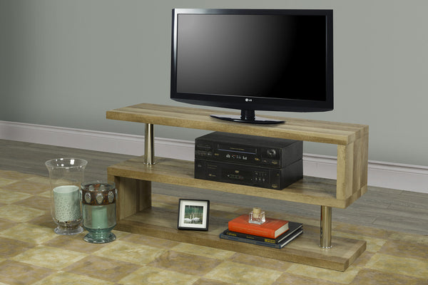 "Wood Finish 3 Shelf (S Style) TV Stand - Holds up to 55"" TV"