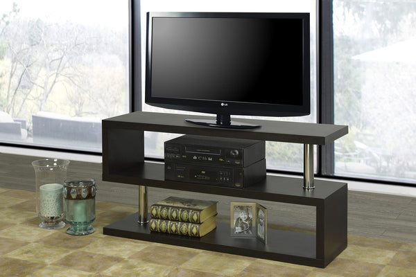 "Espresso 3 Shelf (S Style) TV Stand - Holds up to 55"" TV"