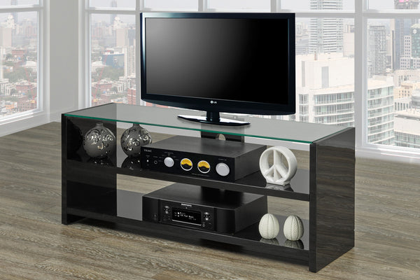 "Black High Gloss 3 Shelf TV Stand - Holds up to 55"" TV"