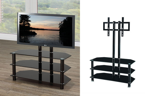 "Black 3 Shelf TV Stand with Mount - Holds up to 42"" TV"