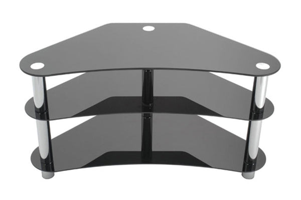 "Black 3 Shelf TV Stand with Chrome Legs and Mount - Holds up to 42"" TV"