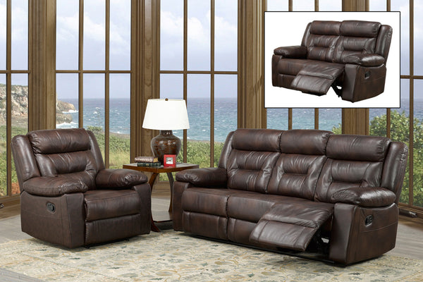 3 Piece Brown Air Leather Sofa Recliner Set
