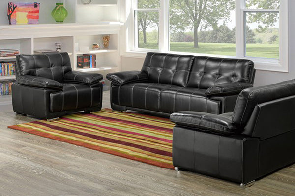 3 Piece Black Bonded Leather Sofa Set