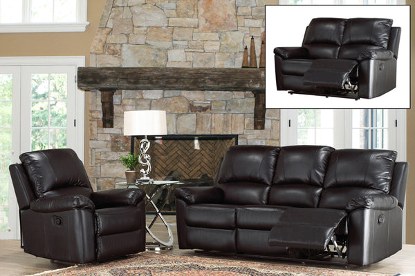 3 Piece Comfy Black Bonded Leather Recliner Set