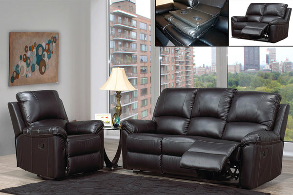 3 Piece Bonded Leather Sofa Recliner Set with Contrast Stitching and Drop-Down Tray
